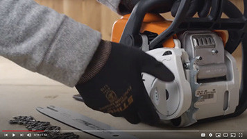 How to mount and tension a bar and chain on a Stihl MS180 C-BE chainsaw