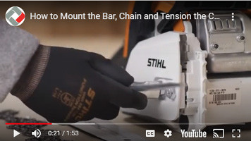 How to mount and tension a bar and chain on a Stihl MS180 chainsaw