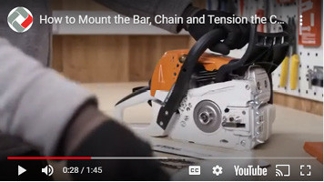 How to mount and tension a bar and chain on a Stihl MS251 chainsaw