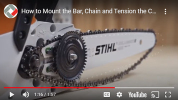 How to mount and tension a bar and chain on a Stihl MSA 120 Cordless chainsaw