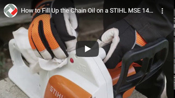 How to mount and tension a bar and chain on a Stihl MSE141 chainsaw