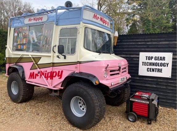Shows a Honda EU70is generator next to Top Gears Mr Nippy ice cream van