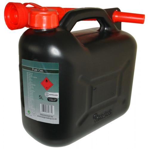Black Plastic Fuel Container 5 Litre