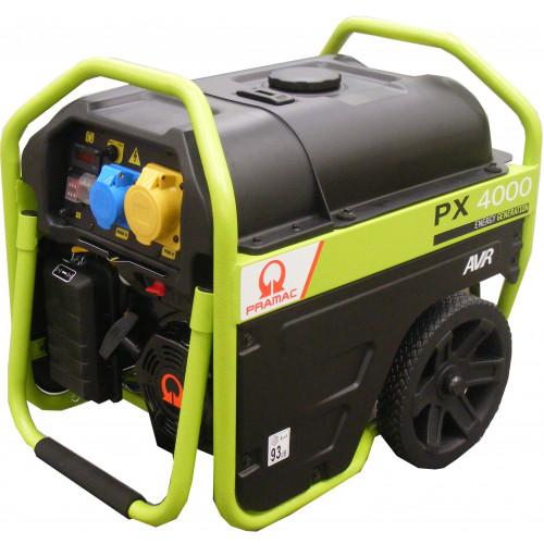 PRAMAC PX4000 AVR Petrol Generator 3/2.5KVA c/w Wheels & Handles (Pramac Recoil)